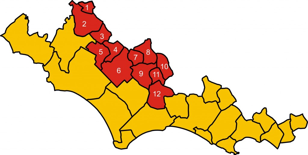 mappa XIII comunità montana lepini ausoni